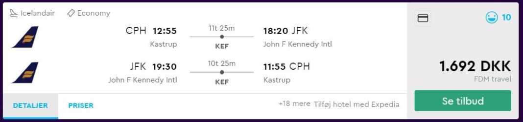 Billige flybilletter til New York fra København