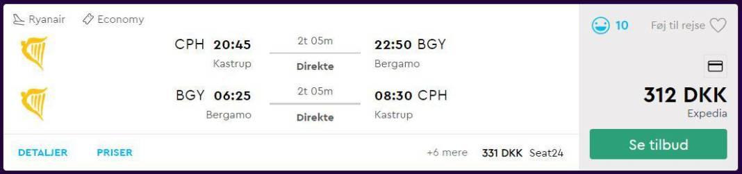 Fly fra København til Milano