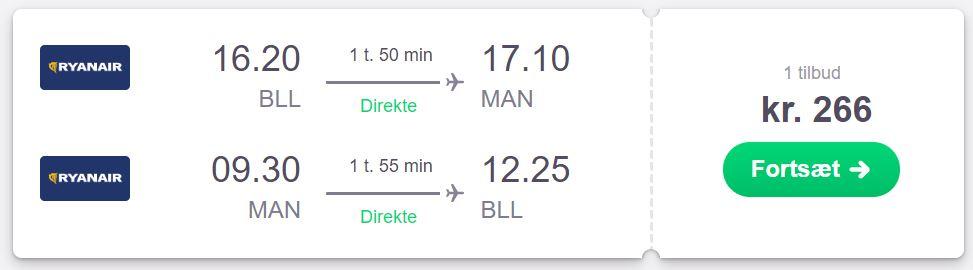 Flybilletter fra Billund til Manchester