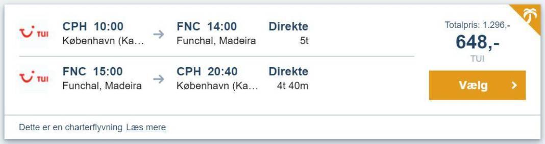Flybilletter fra København til Madeira