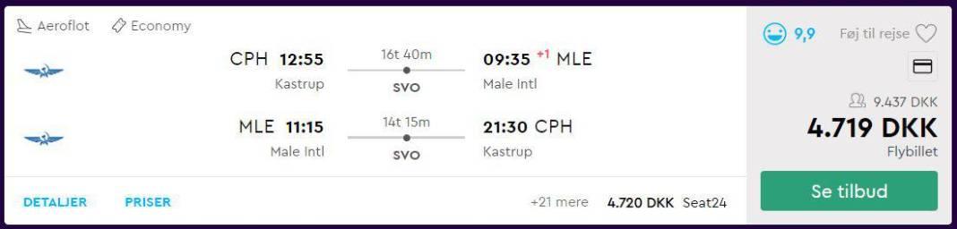 Flybilletter fra København til Maldiverne
