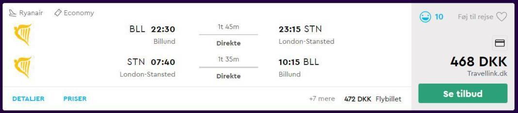 Flybilletter fra Billund til London