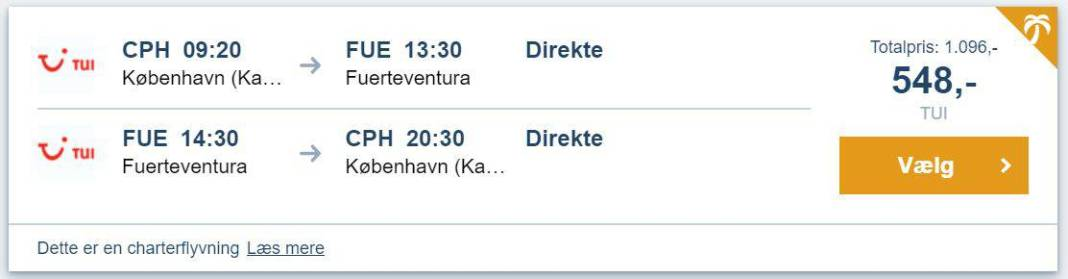 Flybilletter fra København til Fuerteventura