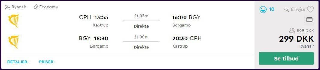 Flybilletter fra København til Milano