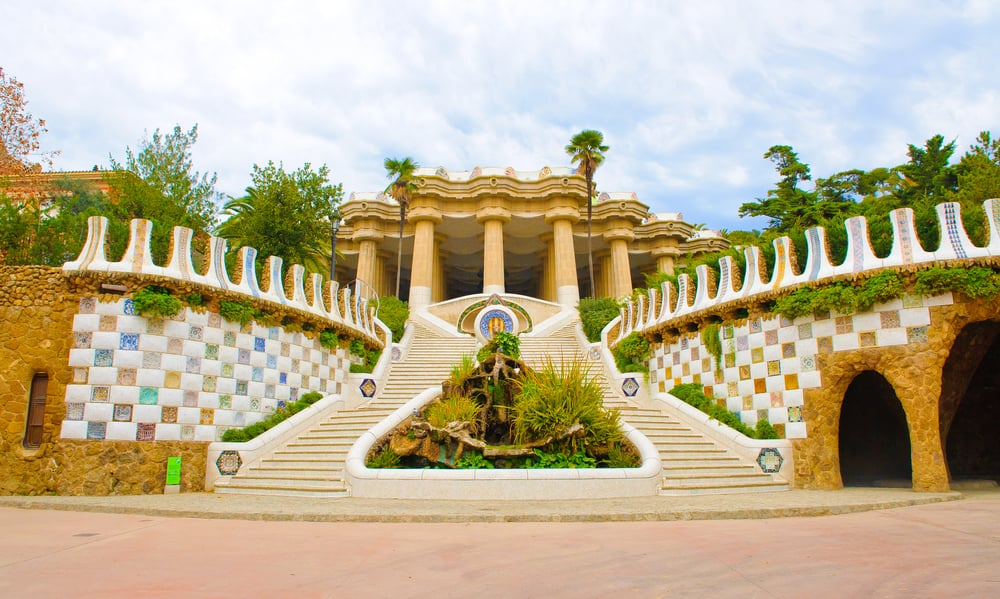 Indgangspartiet til Park Güell i Barcelona