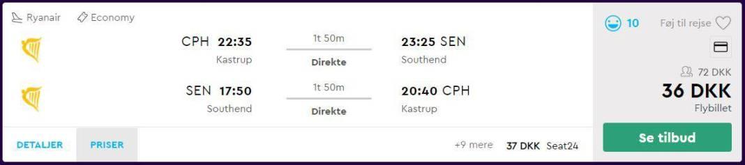 Billige flybilletter fra København til London