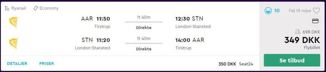 Flybilletter fra Aarhus til London