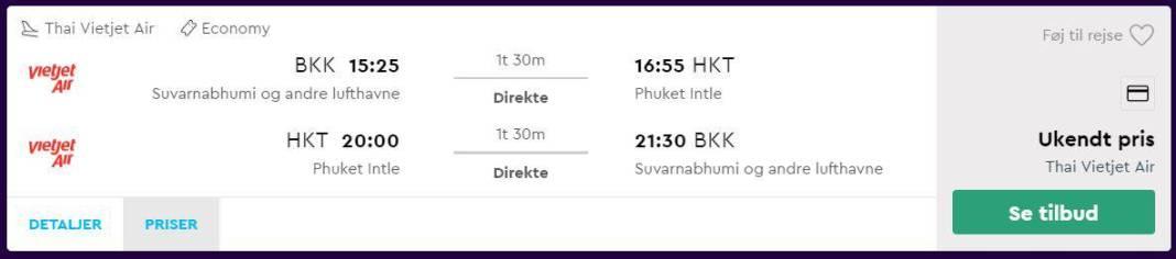 Flybilletter fra Bangkok til Phuket