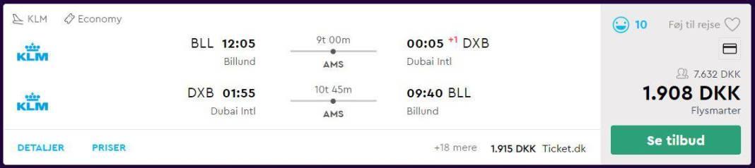 Flybilletter fra Billund til Dubai
