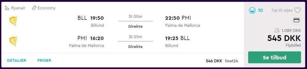 Flybilletter fra Billund til Mallorca