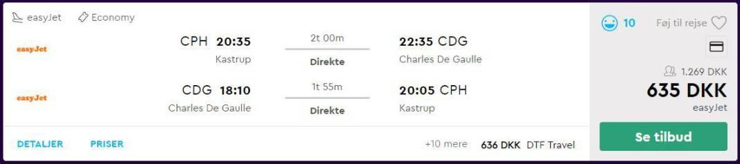 Flybilletter fra København til Paris