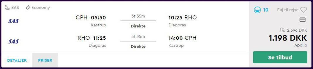 Flybilletter fra København til Rhodos