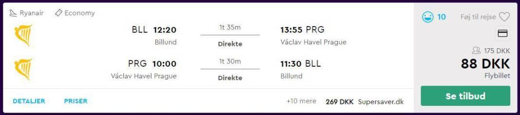 Flybilletter fra København til Prag i Tjekkiet