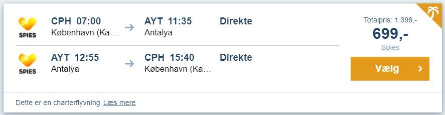 Flybilletter fra København til Alanya i Tyrkiet