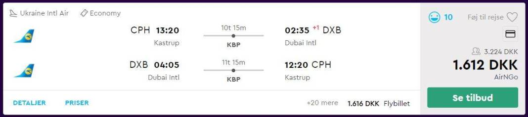 Flybilletter fra København til Dubai
