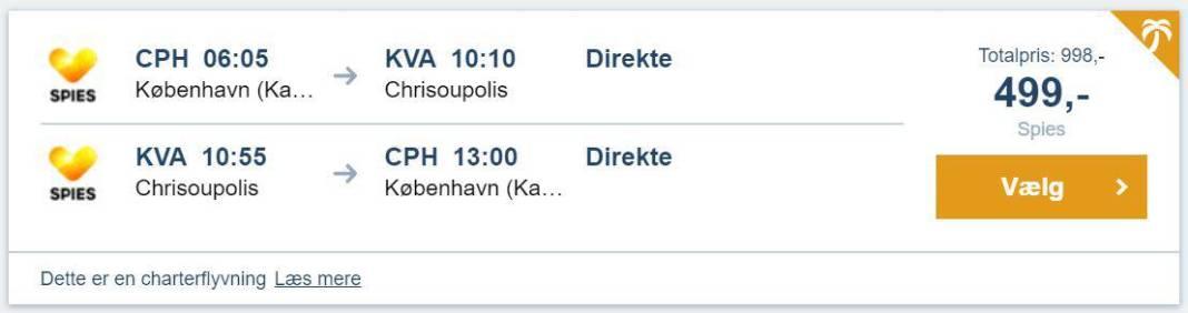 Flybilletter fra København til Kavala i Grækenland