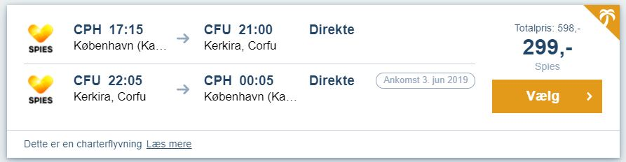 Flybilletter fra København til Korfu i Grækenland