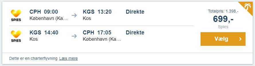Flybilletter fra København til Kos (Grækenland)