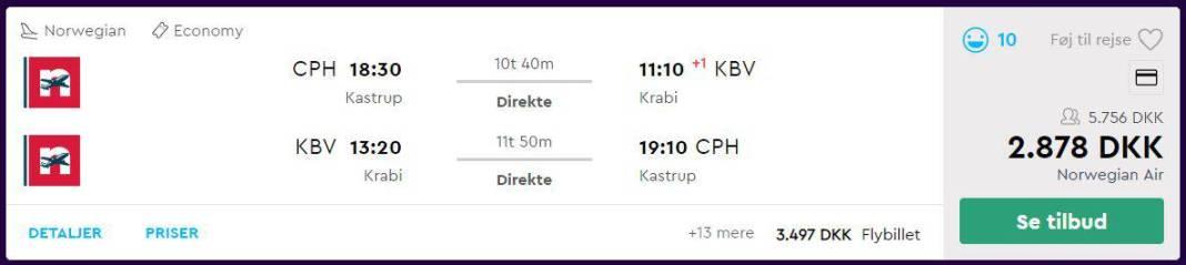 Flybilletter fra København til Krabi i Thailand