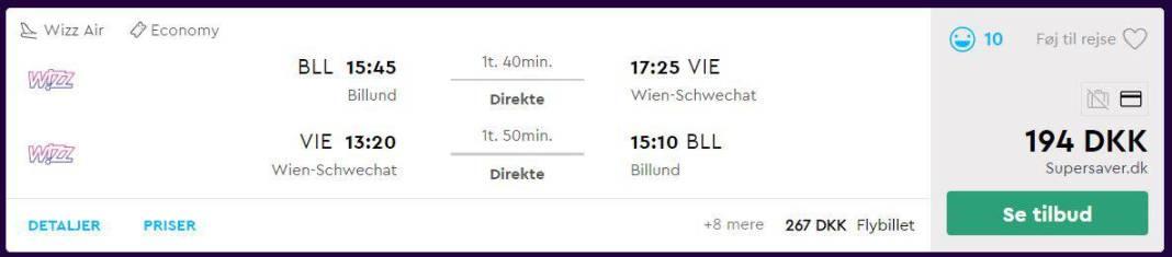 Flybilletter fra Billund til Wien