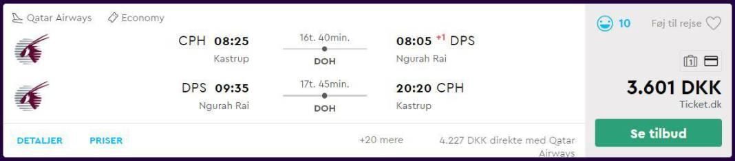 Flybilletter fra København til Bali (Indonesien)