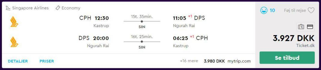 Billige flybilletter til Bali