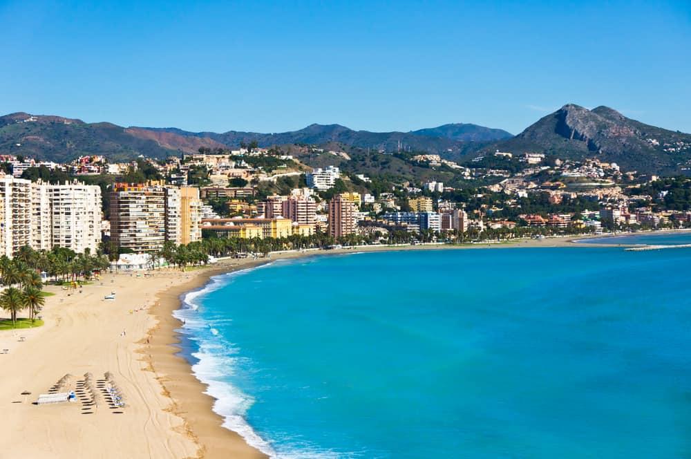 View over strand i Malaga - Spanien