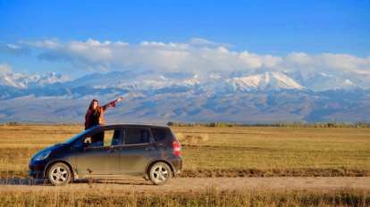 Kyrgyzstan - mountains, car - travel