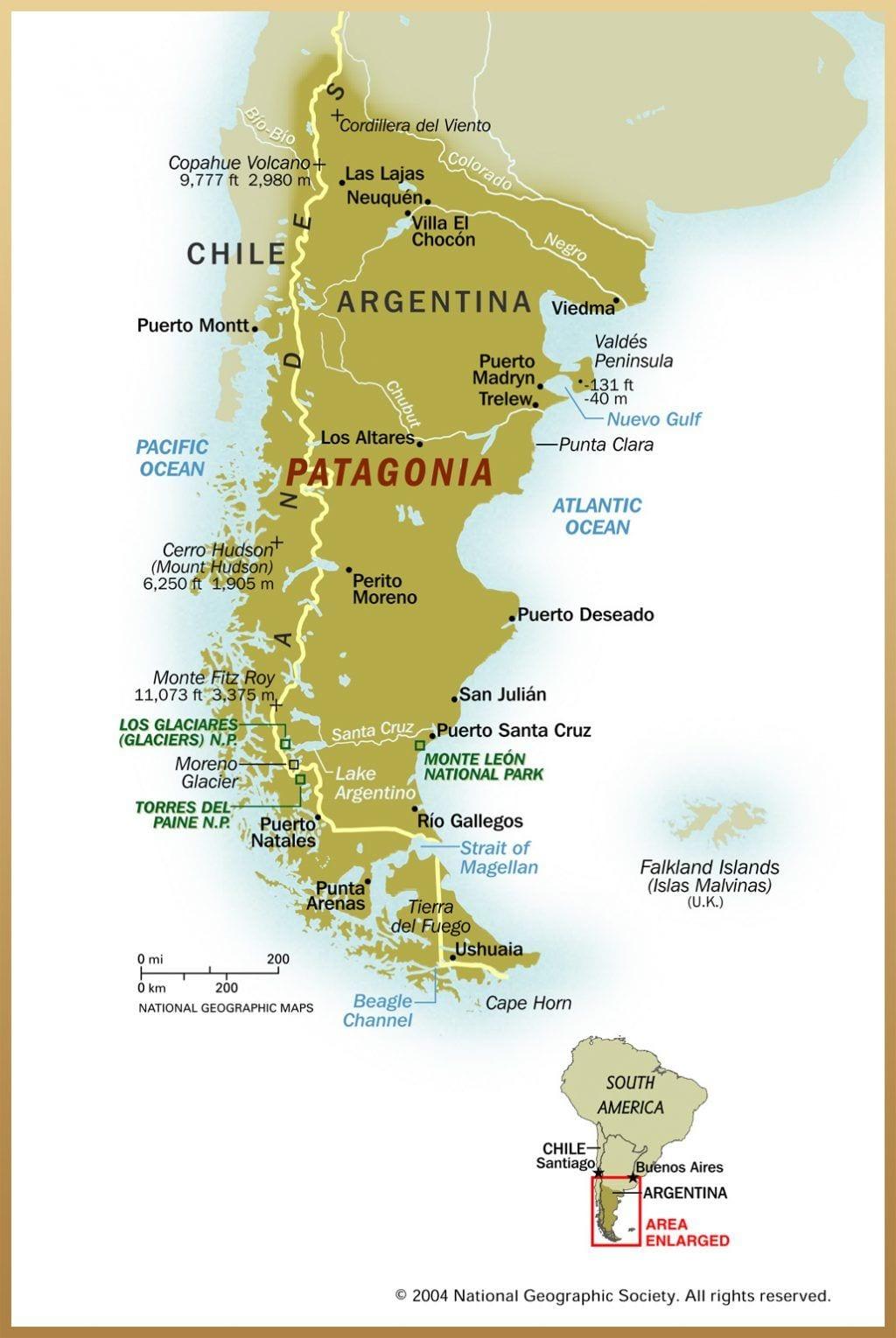 Argentina Chile kort over patagonien - rejser