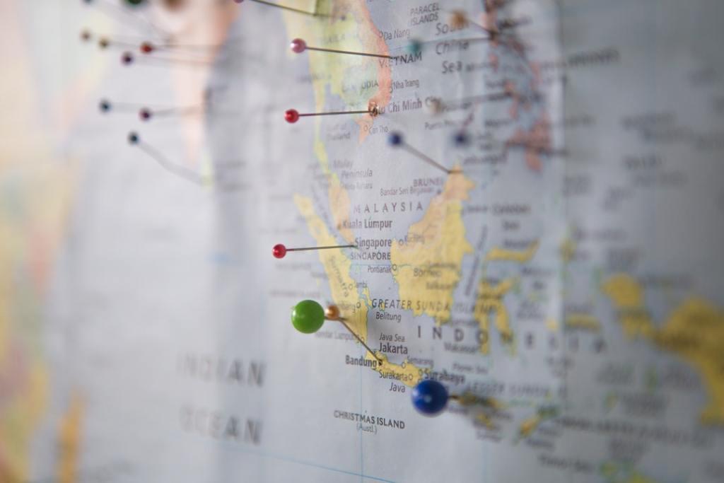 Malaysia - Verdenskort - kort med nåle - rejser, verdensrejser