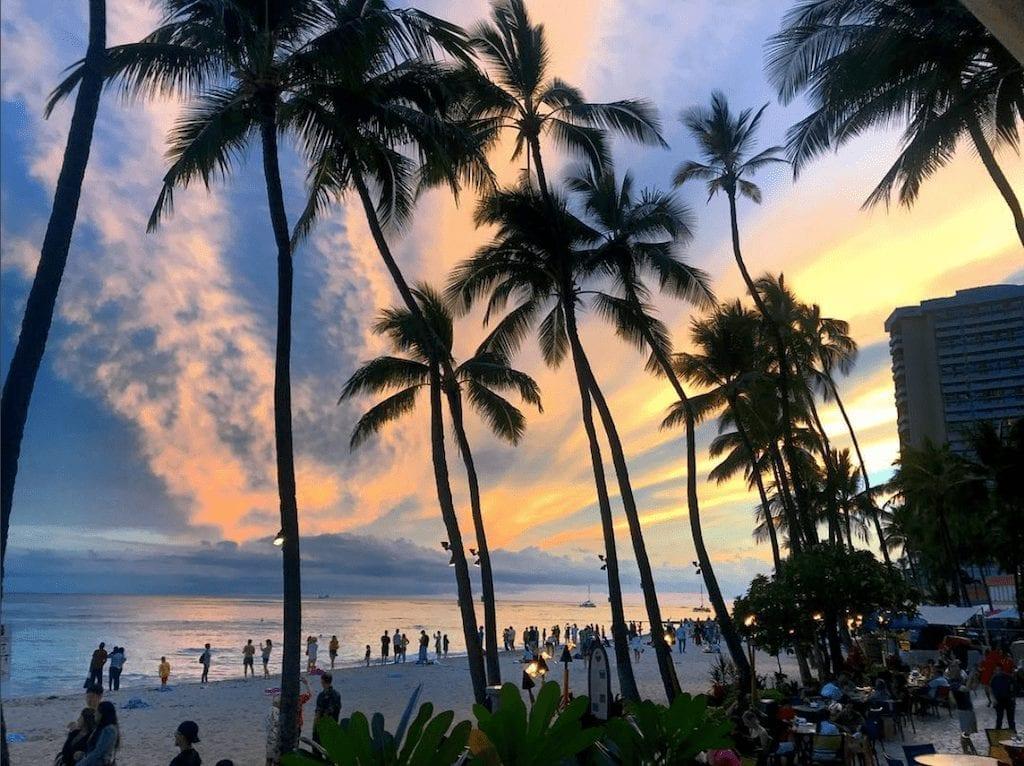 USA - sunset beach waikiki hawaii - travel