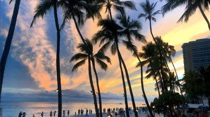 USA - sunset beach waikiki hawaii - travel