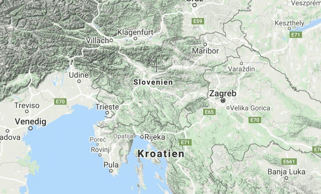 סלובניה - מפה - נסיעות - מפת סלובניה - מפת סלובניה - קרואטיה - מפת קרואטיה - מפה של קרואטיה - ונציה - מפת ונציה - מפת סלובניה