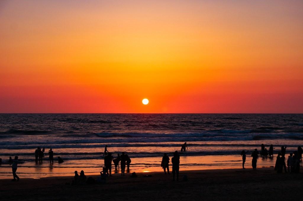 Indien - Goa i Indien, Calangute Beach, solnedgang - rejser