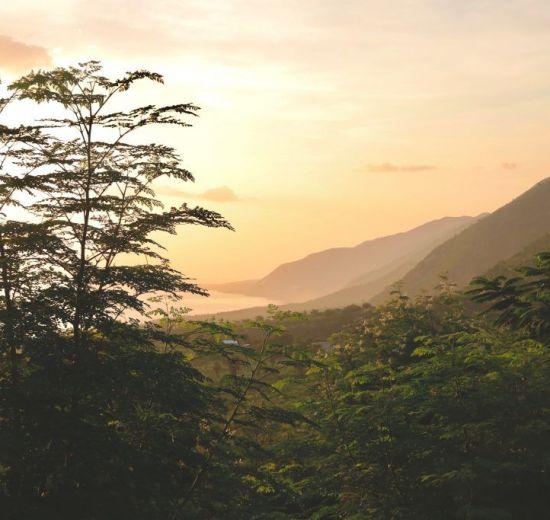 ハイチの山の景色の旅