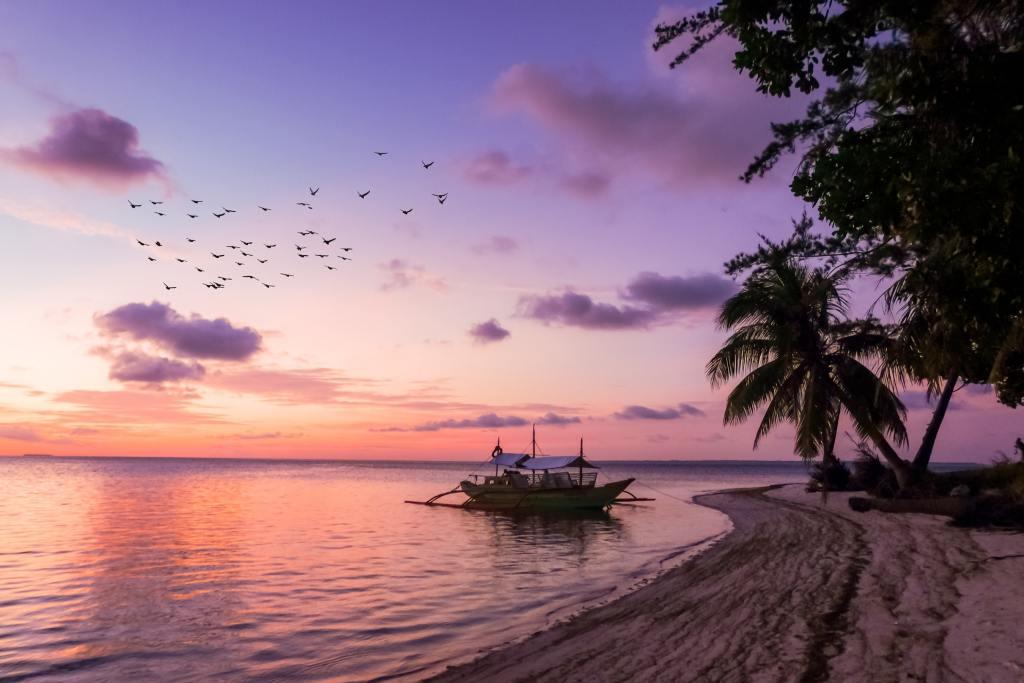 Filippinerne, filippinernes øer, ø, strand, båd, solnedgang, rejser