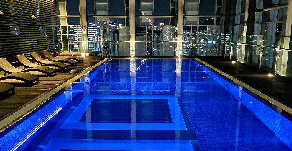 South Korea - Seoul, Novotel Ambassador Dongdaemun pool, views - travel