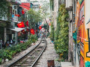 Vlajky Vietnamu Hanoj Vlaky Cestování