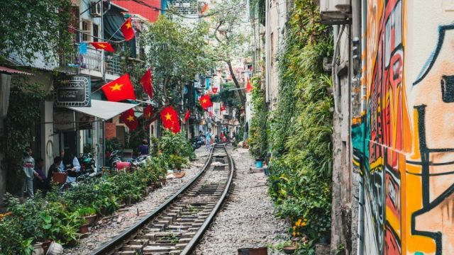 Vietnam Hanoi Train Rails Flag Travel