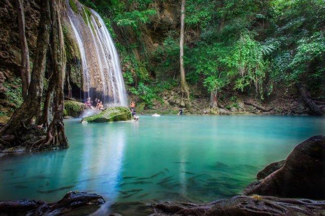Thailandia Kanchanaburi Waterfalls Travel