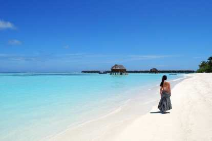 Maldives - beach, water, woman - travel