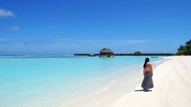 马尔代夫-海滩,水,女人-旅行