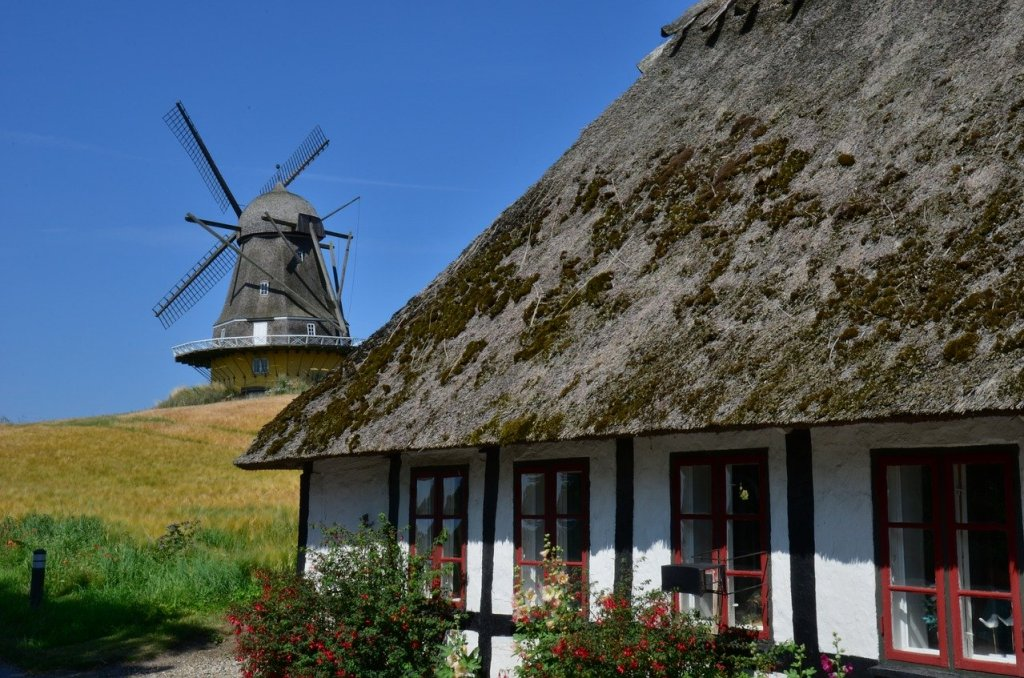 Denmark - tag-init, bubong na may tela, windmill - paglalakbay