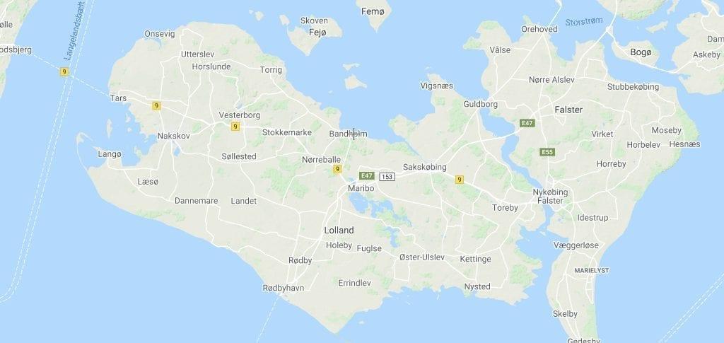Danmark Lolland kort rejser