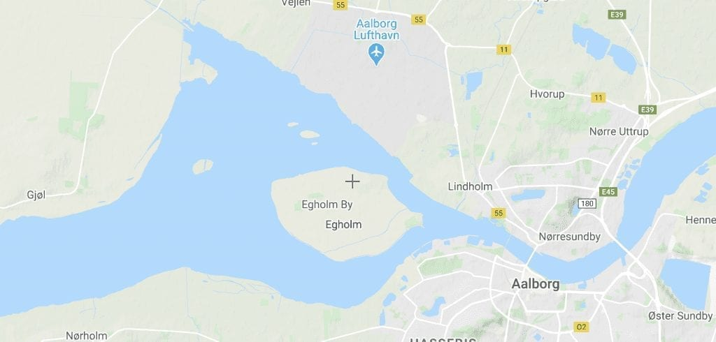 Danmark Aalborg Egholm kort