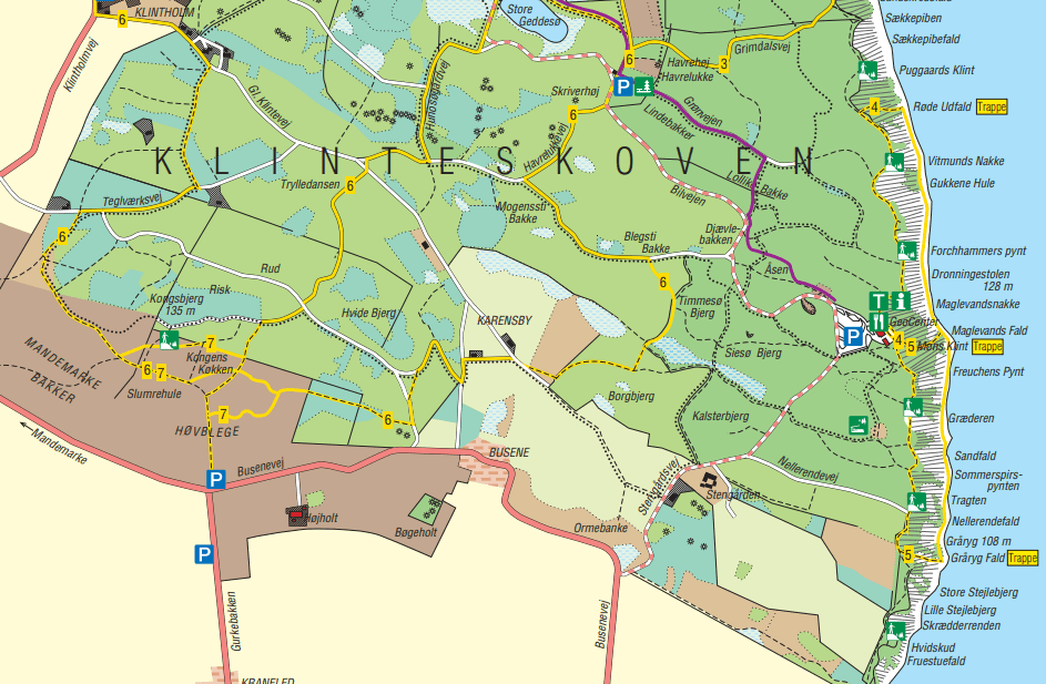 Danmark - Hejcamp, Kort over Møns Klint - rejser