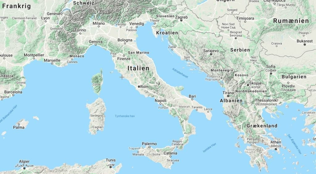 Italien - støvlelandet - Europa - kort - rejser - sardinien kort - italien kort - kort over sardinien - kort over italien - italien map - sardinien map