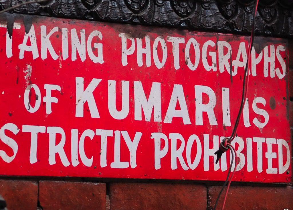 Nepal - Asien - skilt - kumari - rejser