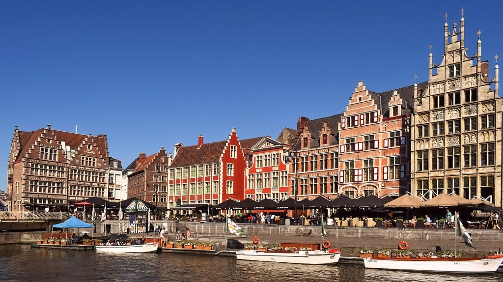 Belgien - Gent, kanal, huse, både - rejser