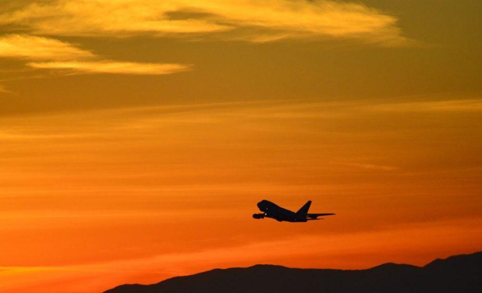 Uçak, gün batımı, turuncu - seyahat